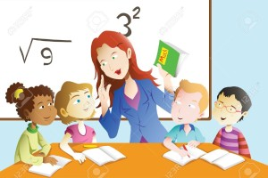 20175387-A-vector-illustration-of-kids-studying-math-in-classroom-with-teacher-Stock-Vector