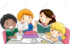 30333324-Illustration-Featuring-a-Group-of-Kids-Studying-Together-Stock-Vector